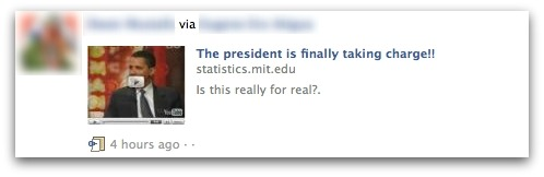 The President is finally taking charge? No, a Facebook phishing attack