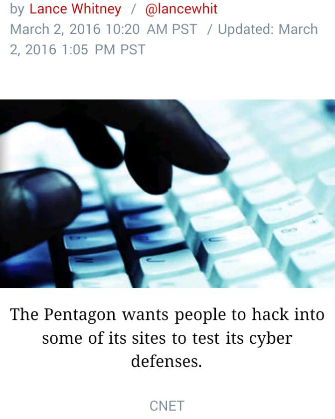 """Hack The Pentagon"" & earn some cash."