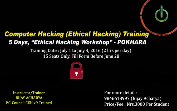 Ethical Hacking Training, Course – Pokhara, Nepal – CEH