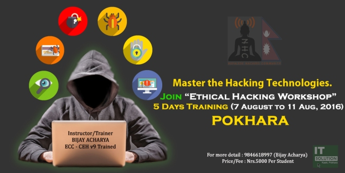 5 Days Workshop on Computer Hacking/Ethical Hacking, 2016 – Pokhara Nepal – EHW 6